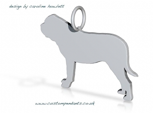 English Mastiff ( Mastiff) dog silhouette pendant sterling silver handmade by saw piercing Caroline Howlett Design